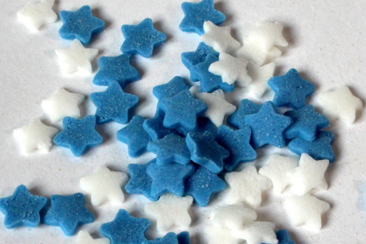 Zvaigznītes baltas/zilas 600g