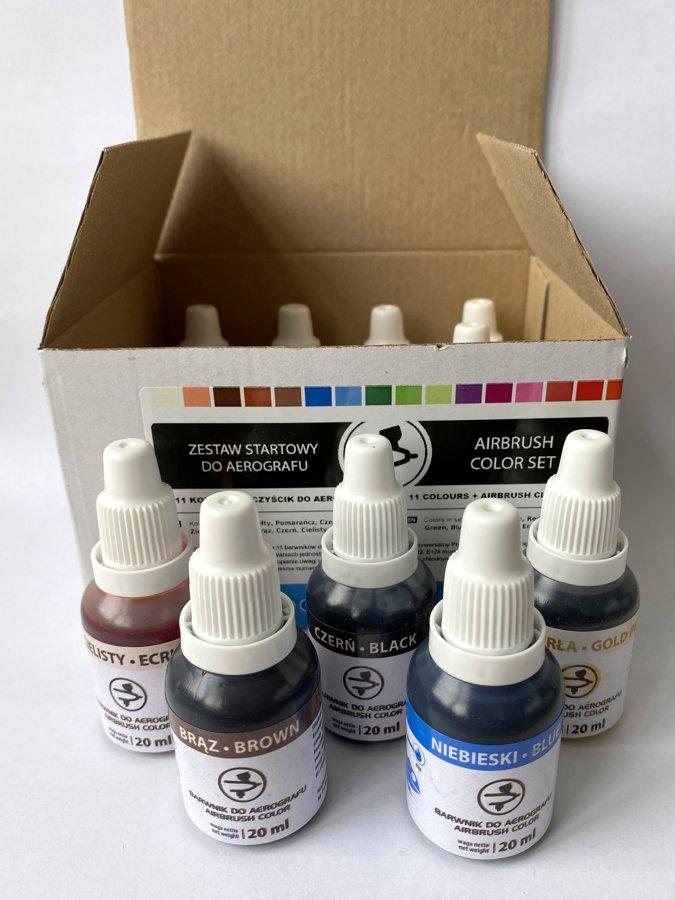 Pulverizatora komplekts dzidrajām krāsām 11 x 20 ml + pulverizatora tīrītājs